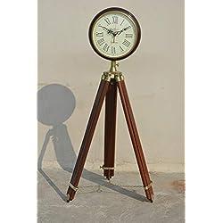 Nautical India Brown Wood Grandfather Style Floor Clock Vintage Industrial 2 Folding Antique Floor Standing Clock Roman Number (70 inchs)