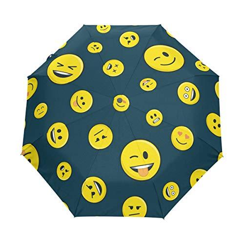 Automatischer Faltbarer Regenschirm, Tier, niedlicher Pandabär, UV-Schutz, tragbarer Sonnenschirm und Regenschirm für Kinder, Damen, Herren Blau Emoji 006 Einheitsgröße