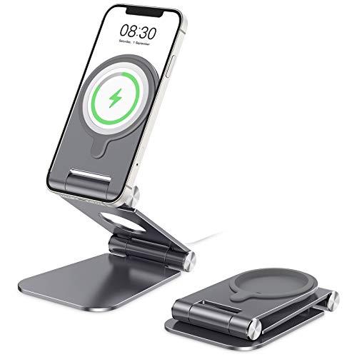 OMOTON stojak na ładowarkę, składany aluminiowy stojak na telefon komórkowy do magicznej ładowarki kompatybilny z iPhone 12/12 Pro / 12 mini/ 12 Pro Max, ładowarka nie wchodzi w zakres dostawy, szary