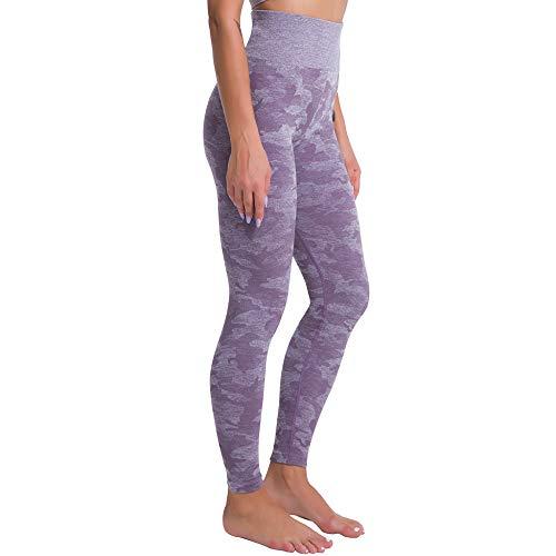 NIGHTMARE Leggings de Gimnasio de Cintura Alta de Camuflaje con Control de Abdomen para Mujer, Pantalones de Yoga elásticos para Correr, Mallas de, Pantalones de Yoga para Correr XL
