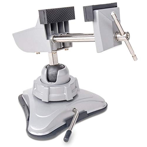 Hi-Spec Mini-Schraubstock mit schwenkbarem Kopf und leistungsstarkem Saugnapf-Befestigungsmechanismus