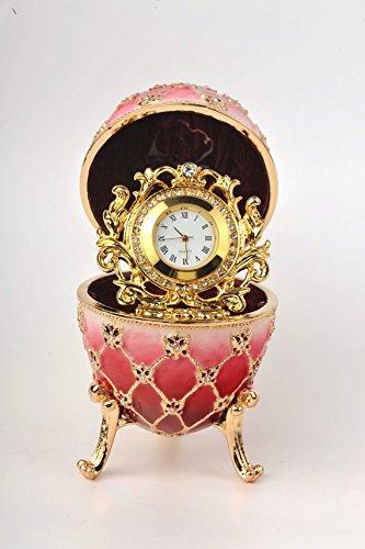 Licht Rot Musikspieluhr Fabergé-Ei mit Gold Uhr Innen handgefertigt Schmuckkästchen