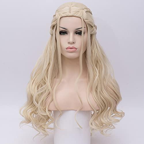 Peluca para disfraz de Cosplay Peluca sinttica Peluca de cosplay Ondulado profundo Kardashian Ondulado profundo Peluca Larga Plata Pelo sinttico Mujer Blanco