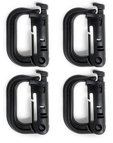 FIT4OLYMP Grimloc Karabinerhaken mit Verriegelung I 4 Stück I sehr robuster Stabiler Kunststoff D-Ring für Taktische Rucksäcke, Taschen an 25mm / 1