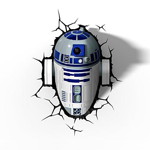Veilleuse enfant 3D Light FX Star Wars – R2-D2 – Lampe murale led avec minuteur et sticker muraux