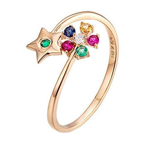 AMDXD Anillo de Compromiso de Oro 18 Kilate, Anillo Boda Flor Pentagrama Diseño con 0.19ct Piedra Preciosa y 0.03ct Diamante, Oro Rosa, Tamaño 15 (Perímetro: 54mm)