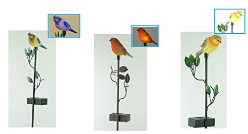 """Solar-Gartenleuchte Solarleuchte\"""" Vogel\"""" als 3er Set LED Solarleuchten mit Erdspieß Solarstick Gartendekoration"""