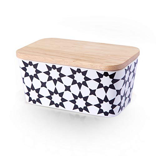 """Butter Dish with Wooden Lid 6"""" Butter Dish with Lid Covered Butter Keeper Airtight Holds Up to 2 Stick Of Eastern/West Coast Butter Ceramic Porcelain Butter Container Dishwasher Safe(Black Flower)"""