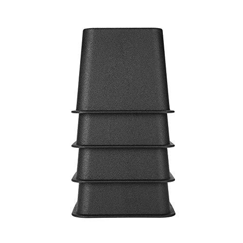 Zerone Elevadores de cama ajustables para muebles, 4 unidades, elevadores de patas de plástico de polipropileno, apilables para sofá o mesa de 3 pulgadas, color negro