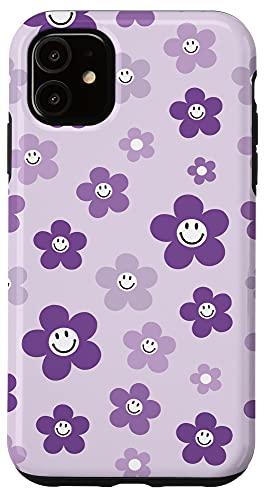 iPhone 11 Retro 90s Aesthetic Purple Daisy Smiley...