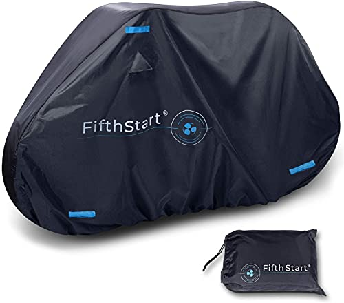 FifthStart Ripstop Bike Cover with Waterproof Rating of 1500mm. This Bicycle Cover Waterproof Outdoor is 210D Double Stitched Webbing Strap and Unique Breathe Valves (Black & Blue)