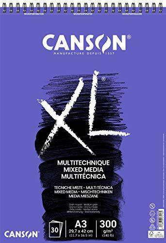 CANSON XL Mix-Media Block, DIN A3, 30 Blatt, 300 g/m²