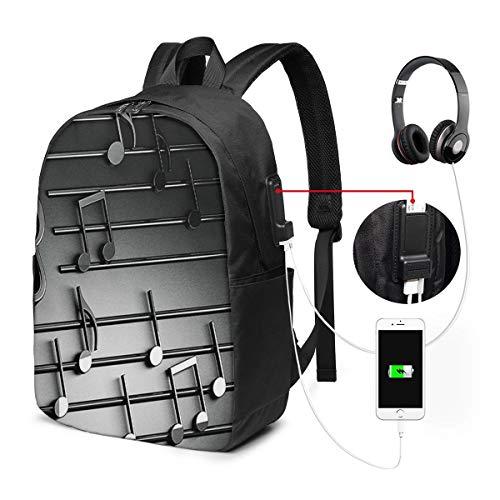 Zaino Antifurto Con Porta USB Note musicali 3D Zaino per PC Computer Portatile 17 Pollici Zaino per Laptop Da Uomo Donna per Scuola Business Viaggio