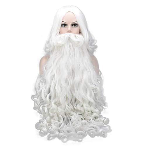 ZYJFP Kerst Pruik Baard 2 Sets, Wit Zijde Medium Lange Krullend Haar Kerstman Decoratie