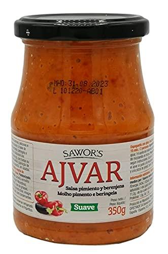SAWORS - Salsa Ajvar, Salsa Mediterránea, Condimento Cremoso, Elaborada con Pimiento Rojo Asado y Berengena, Cocina Balcánica, Suave - 350g