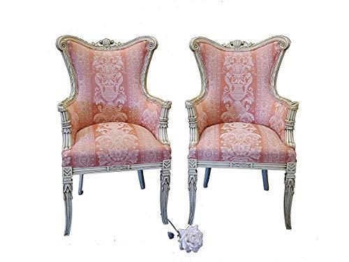 Antike Fundgrube 2 Sessel im Rokoko Stil   Königliche Stühle im antiken Stil   Armlehnsessel altweiß mit rosafarbigen Bezug (2566)