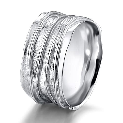 Ring Herren Damen 10mm Breit Wellen Struktur Ringe Bandring Sterling Silber 925 (Silber,49 (15.6))