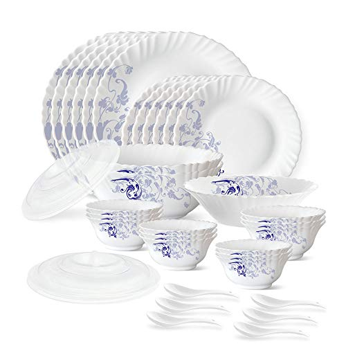 Larah by Borosil Blue Eve Silk Series Opalware Dinner Set, 35 Pieces, White