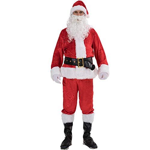 Leezeshaw Disfraz de Pap Noel para adultos, disfraz de Pap Noel, para hombre, 8 piezas, disfraz de Pap Noel para adulto