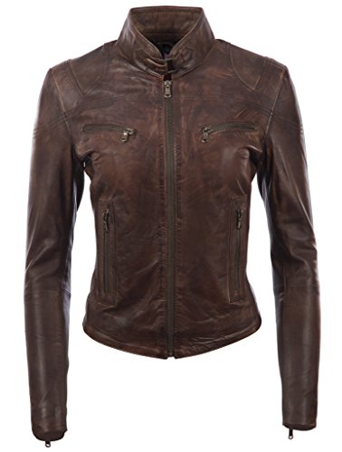 Aviatrix Damen superweiche Echtleder Mode Bikerjacke (CRD9),Nevada Braun,XXX-Large