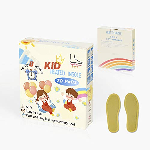 WORLD-BIO Kids Disposable Insole Foot Warmers 20 Pairs Value Pack - Provide 8 Plus Hour Heating, Long Lasting Safe Natural Odorless Air Activated Warm Pack