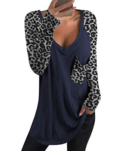 kenoce Tshirt Damen Langarm Tunika Pullover V-Ausschnitt Asymmetrischer Oberteile Shirt Langarmshirt Casual Sexy Sweatshirt D-Blau XL