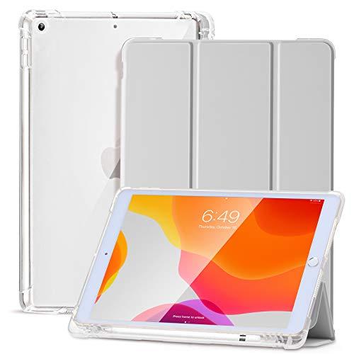 SIWENGDE Hülle für iPad 8.Generation 2020/7.Generation 2019,Schlankes weiches TPU Durchscheinend Mattiert Zurück Schutz hülle für iPad 10,2 Zoll mit Stifthalter,Auto Wake/Sleep (grau)