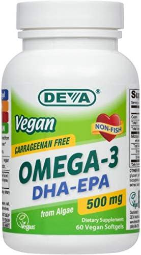 Deva Vegan Omega 3 DHA EPA 500 mg Potency Carrageenan Free 2 Months Supply Non Fish from Algae product image