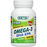 Deva Vegan Omega-3 DHA - EPA 500 mg Potency - Carrageenan Free - 2 Months Supply - Non Fish - from Algae - 60 Vegetarian/Vegan Softgels, Manufactured in The USA**