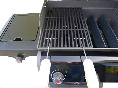 Grillclub Gusseisen Grillrost (3,6 kg !) + 2 Griffe für Weber Spirit E 210 ab 2013 / Regler vorn !