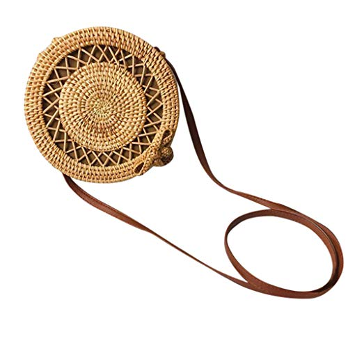 Dasongff Runde Rattan Tasche/Korbtasche Handmade Damen Strandtasche Handgemachte Weben Umhängetasche Elegant Strand Taschen
