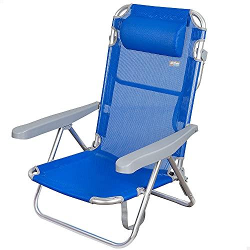Aktive 62608 - Silla de playa plegable, con cojín, Aktive Beach, color azul, 60x47x83 cm, Silla reclinable, 5 posiciones, asa de transporte, , peso máx 100 kg, Silla resistente
