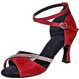 MGM-Joymod Mujeres Glitter Cristales Cadenas Salsa Samba Rumba Salón de Baile Latino Moderno Zapatos de Baile Boda Fiesta Sandalias, color Rojo, talla 41 EU