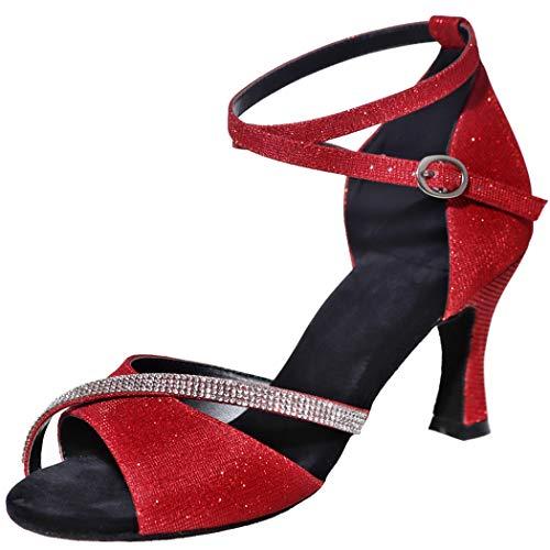 MGM-Joymod Mujeres Glitter Cristales Cadenas Salsa Samba Rumba Salón de Baile Latino Moderno Zapatos de Baile Boda Fiesta Sandalias, color Rojo, talla 39.5 EU