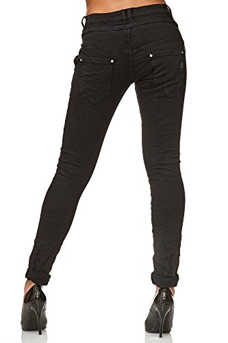 Elara Jeans para Mujer Boyfriend Baggy Botones Chunkyrayan Negro C613K-15/F15 Black 46/3XL