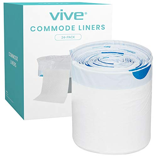 Vive 24 Pack of Commode Liners with Absorbent Pad - Disposable Replacement Bag - Fits Standard Adult Bariatric Bedside Commode Pail and Folding, Portable Toilet Chair - Absorbing Sheet Aid - Universal