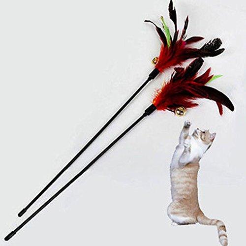 Healthy Clubs 1 lustiger Katzenspielzeug-Stab mit Feder, Spielstab mit Glöckchen - 3