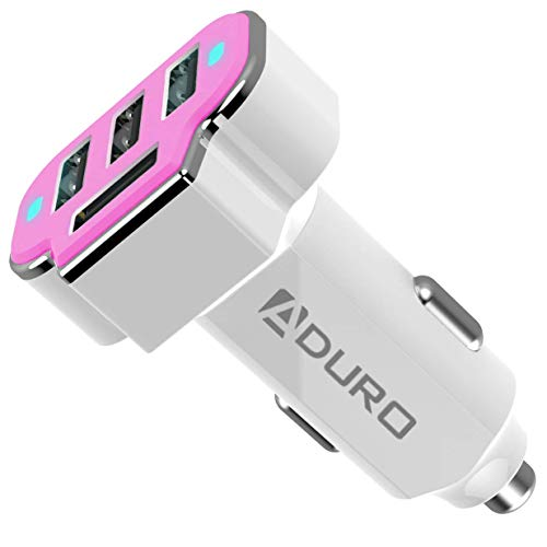 Aduro 4 Port Car Charger USB Adapter, 12V Fast Car Charger USB Adapter Power Station 5.2A/26W Output (Pink)