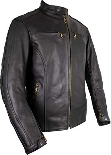 Herren Lederjacke, Motorrad Lederjacke, Bikerjacke, Rind Leder, (XL) - 3