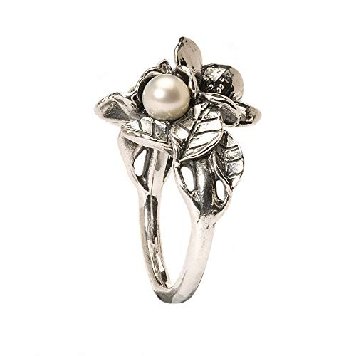 Trollbeads Silber Ring Weißdorn mit Perle, Gr. 54