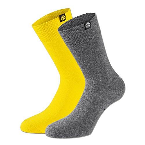 BVB Herren Socken Set Socken Set, grau/gelb, 35 - 38, 2466333