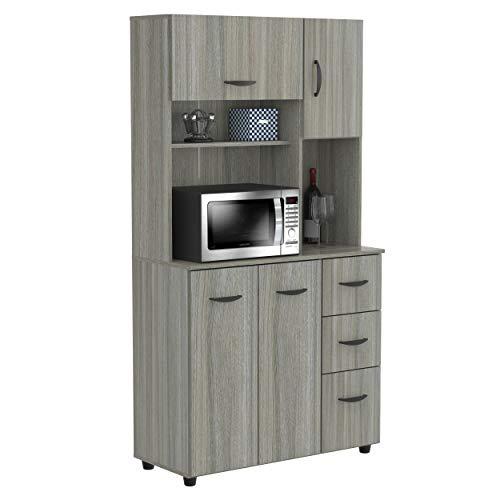 Inval Kitchen Microwave/Storage Cabinet, Smoke Oak