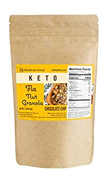 Fla Keto Granola Low Carb Cereal with Chocolate Chips - Vegan Sugar & Grain Free Nut Snacks Ketogenic Diet Friendly Healthy Snack & Breakfast Food - 11oz bag  11 servings