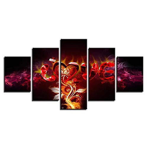 SJLAQ Flame Vine Love Pintura Abstracta Impresión Modular Lienzo Arte de la Pared 5 Piezas Cartel Imagen Decoración para Sala de estar-30x40 30x60 30x80cm Sin Marco