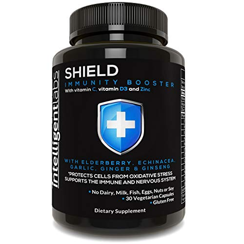 Shield Booster by Intelligent Labs, for Support, with Vitamins C & D3, Zinc, Elderberry, Echinacea, Garlic, Ginger & Ginseng, 30 Vegetarian Capsules
