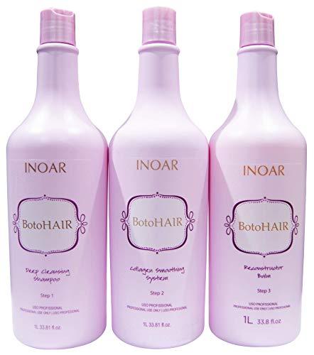 INOAR PROFESSIONAL - BotoHAIR Deep Cleansing Shampoo & BotoHAIR Collagen System & BotoHAIR Reconstructor Balm (33.8 Ounces)