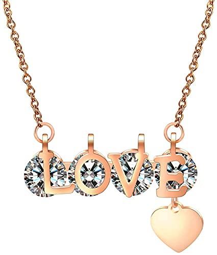 QXYMY Collar para Hombres De San Valentín Día De San Valentín Regalo Titanio Acero Amor Corazón Collar Colgante CZ Piedra Cristal Collares para Mujeres Suéter Cadena 43379 (Color : 43379)