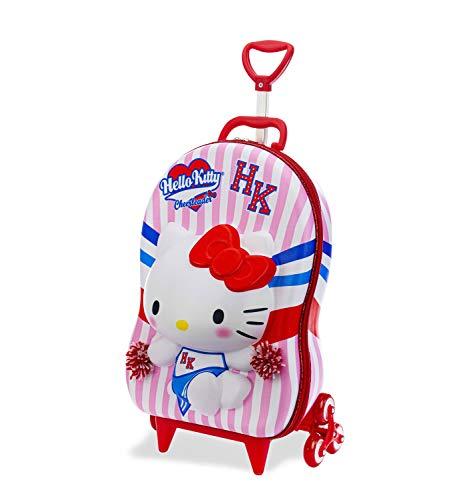 Mochila Escolar 3D com 6 Rodinhas Hello Kitty Cheerleader - Maxtoy