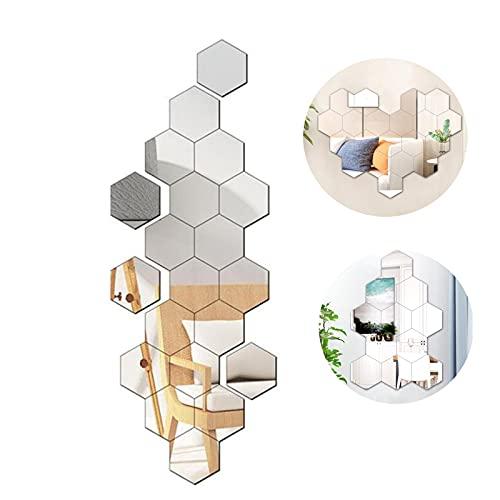 CYendy Espejo Hexagonal, Espejo acrílico Autoadhesivo Plateado, 24espejos de Pared (126 x 110 x 63 cm), Adecuado para decoración del hogar, Sala de Estar, sofá o Pared eléctrica