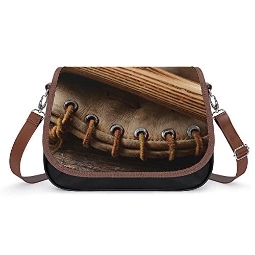 delayer Damen Umhängetasche Alter Baseballschläger Und Handschuh Alter Holz Crossbody Bag Verstellbar Abnehmbar Schultergurt